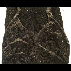 Black Velvet Paisley Full Length Gown Large